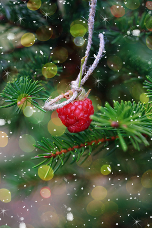 new construction: New Year card. Raspberries on the tree as an ornament. Snowing. Selective focus on the berries.