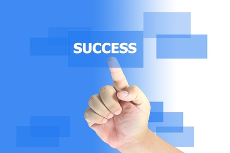 hand pushing success button  Stock Photo - 10890226