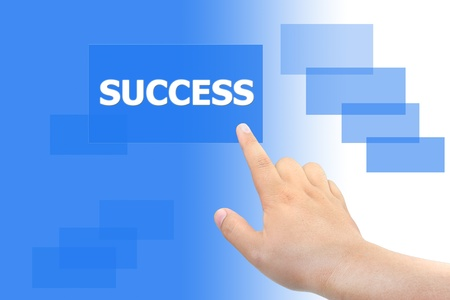 hand pushing success button Stock Photo - 10929925
