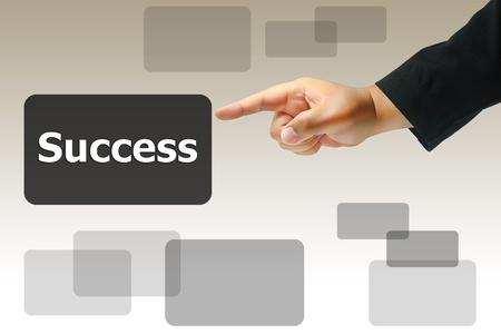 hand pushing success button photo