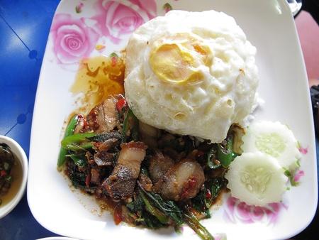 Basil pork,Fried egg photo