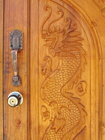 wood dragon door photo