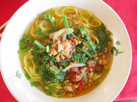 cold soup: chinese Noodles Stock Photo