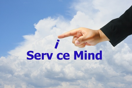 hand pushing service mind photo