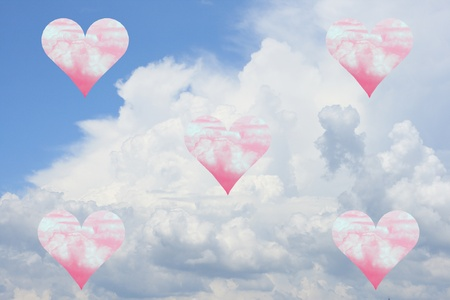 pink heart in the sky photo