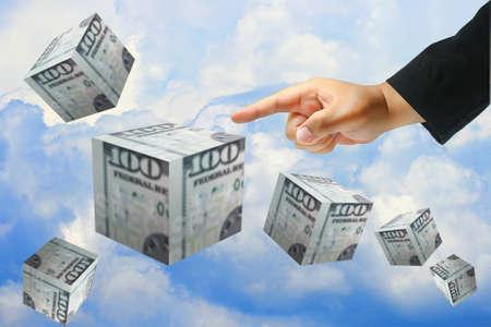 business hand push dollar photo