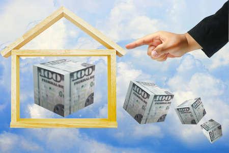 hand push home model and dollar box photo