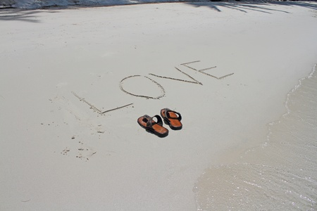 sandles: shoe on the beach