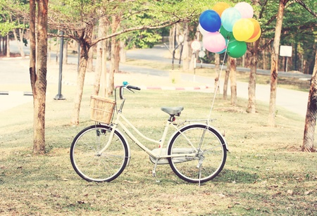 young girls nature: Bike and Balloon