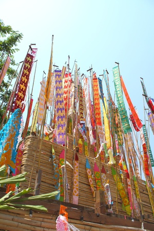 Many Color paper flag in temple of Thailand,For Buddha worship Stock Photo - 13244304