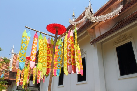Many Color paper flag in temple of Thailand,For Buddha worship