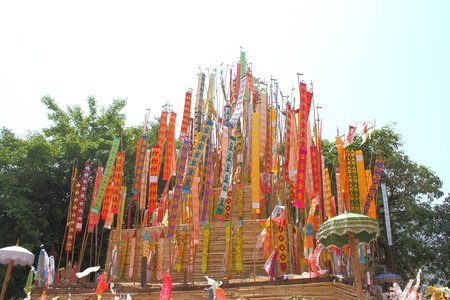 Many Color paper flag in temple of Thailand,For Buddha worship Stock Photo - 13244301