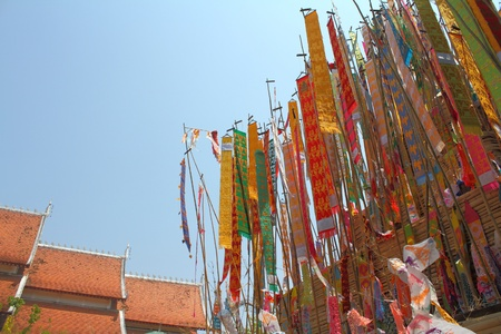 Many Color paper flag in temple of Thailand,For Buddha worship Stock Photo - 13244300