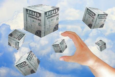 hand push the dollar box photo