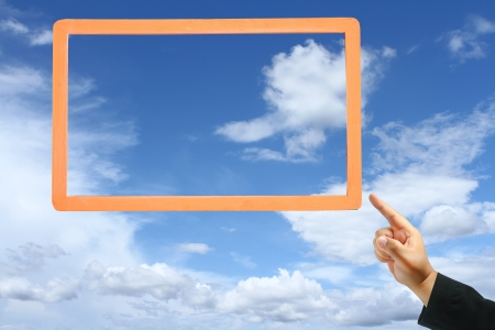 business hand touch frame Stock Photo - 13896844