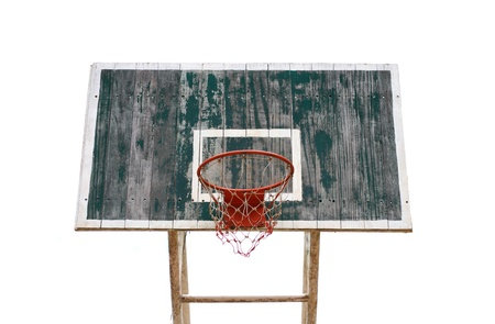 Old wooden basketball hoop on white background photo