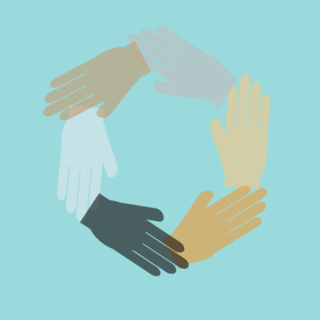 Team symbol hand connecting,vector Vector