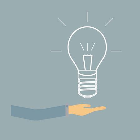 Light bulb in hand businessman,vector Vector