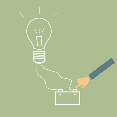 business hand: business hand  light bulb and battery,charging your idea,vector
