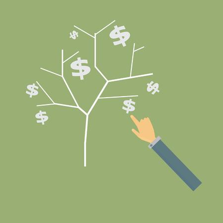 business hand: business hand holding money tree,vector Illustration