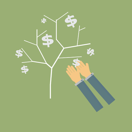 business hand holding money tree,vector Vector