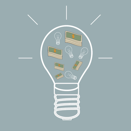 Innovate business concept made with money in a light bulb  Vector