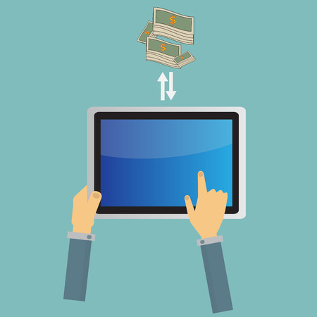 multitouch: business tablet screen concept Vector