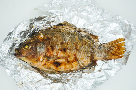 crusted: Salt Crusted Grilled Fish Stock Photo