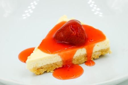 strawberry: Fresh strawberry cheesecake with strawberry sauce sweet and dessert