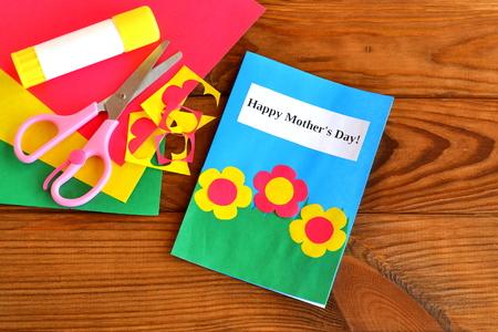 Cut Cards And Circle, Scissors, Pencil, Glue, Colored Cardboard ...