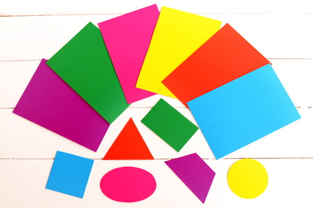 Paper Cards Set To Teach Children Color And Form. Cardboard Oval ...