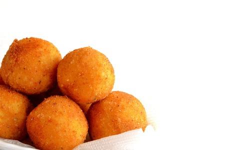 Fried rice balls arancini isolated on white background. Italian dish Stock fotó