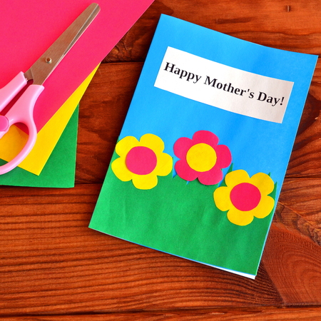 Greeting Card Happy Mothers Day Easy Childrens Crafts Scissors