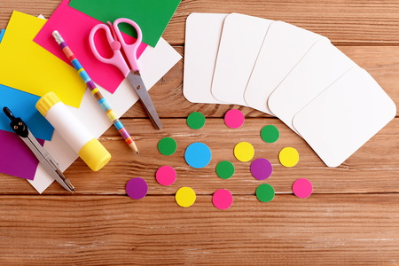 Cut Cards And Circle, Scissors, Pencil, Glue, Colored Cardboard ...