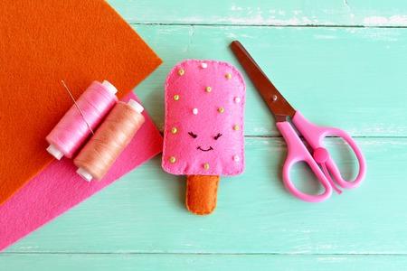 Handmade felt ice, felt food toy. Summer textile craft project. Summer crafts for kids. Idea for summer camp arts. Felt sheets, scissors, thread, needle. Creative diy embroidery