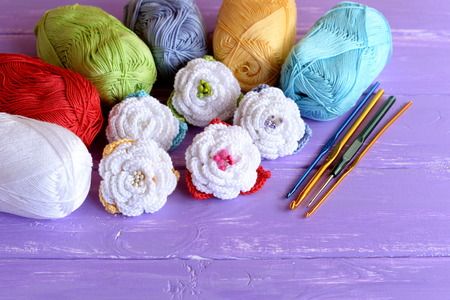 Pink, Grün Und Blau Häkeln Rosen Mit Perlen Verziert ...