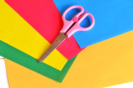 Colorful paper sheets, scissors, set for childrens creativity Stock Photo