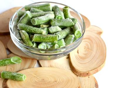 Frozen green beans in a bowl