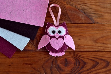 Burgundy And Pink Felt Owl Toy Owl Ornament Stuffed Owl Sewing