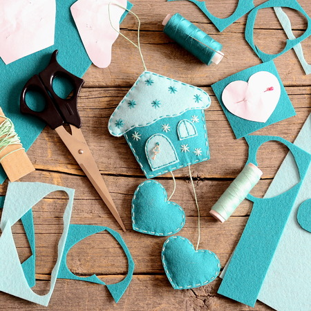 Felt House With Hearts Decor Tools And Materials For Sewing Stock