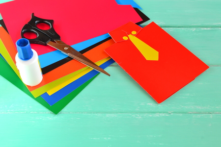 Happy fathers day card, sheets of cardboard, scissors, glue. Children art set