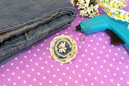 Denim flower brooch, jeans, hot glue, ribbon - what to make from old jeans, set