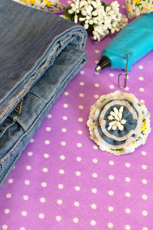 Blue flower brooch made of old jeans. Summer pretty denim brooch. Recycling fashion