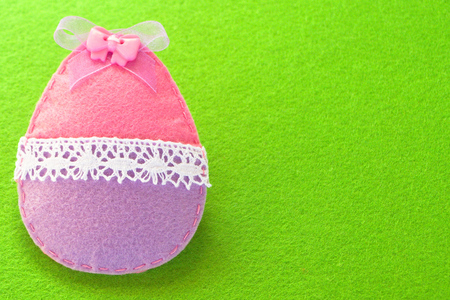 needle laces: Easter felt egg decoration Stock Photo