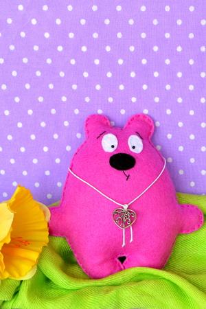 Rosa Filz Teddybär - Handgemachte Kinder Spielzeug Nähen Handwerk ...