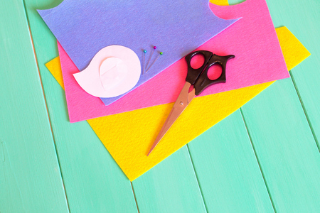 Sewing set for felt bird - how to make handmade toy Stock Photo