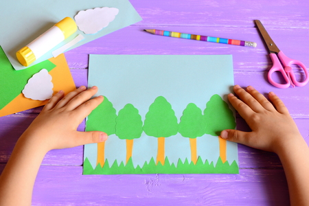 Small Child Made A Earth Day Card Materials And Tools For Create