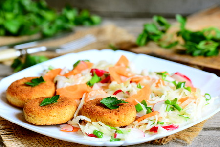 meatless: Chickpea cutlets and fresh vegetable salad on a plate. Fried chickpea cutlets. Cabbage salad with carrot, radish, green onions and parsley. Veggie lunch or dinner recipe. Rustic style. Closeup