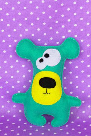 Handmade felt green bear toy