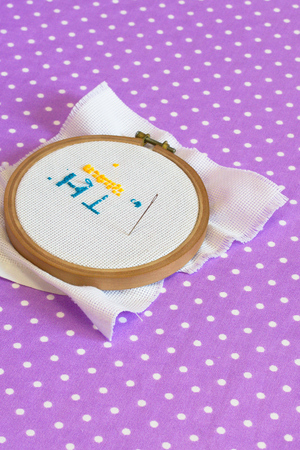Embroidery hoop with canvas print, the needle, child to learn to embroider Stock Photo